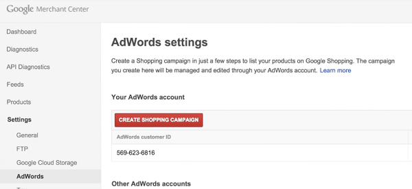 Create Campaign with Google Merchant
