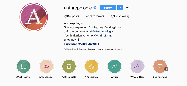 Anthropologie Uses Shoppable Posts