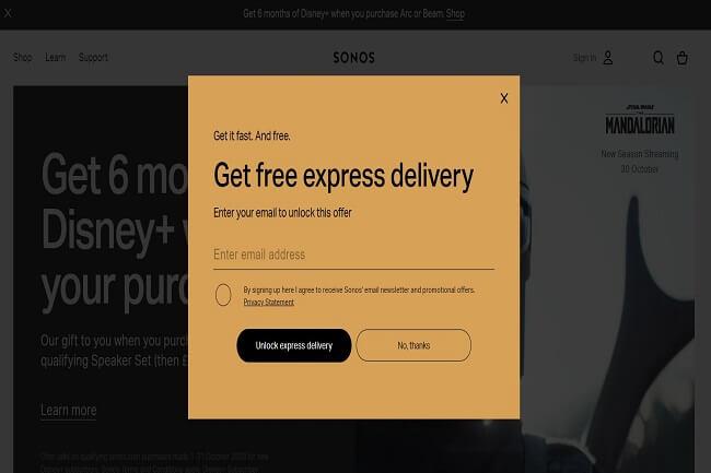 Sonos free delivery enticement